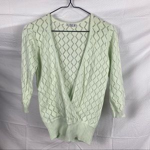 Women's Supre Mint Green Mid Sleeve Deep V-Neck Pullover Cardigan Top Size M